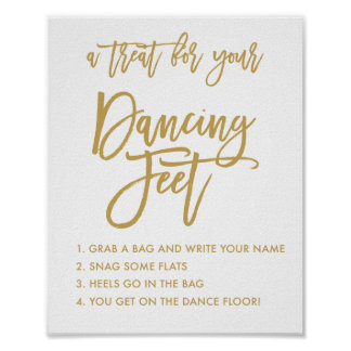 Chic Hand Lettered Gold Wedding Dancing Feet Sign Poster