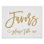 Chic Hand Lettered Gold Wedding Favours Sign Poster