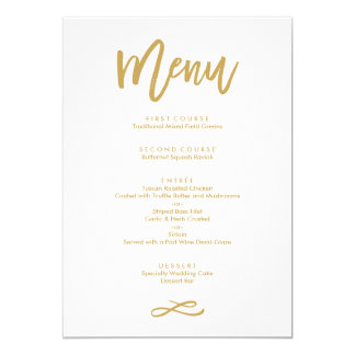 Chic Hand Lettered Gold Wedding Menu 13 Cm X 18 Cm Invitation Card