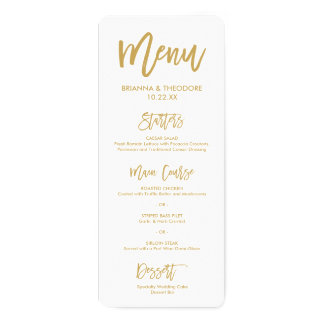 Chic Hand Lettered Gold Wedding Menu Card