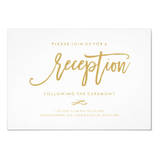 Chic Hand Lettered Gold Wedding Reception Card