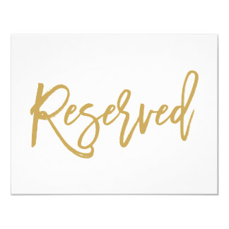 Chic Hand Lettered Gold Wedding Reserved Sign 11 Cm X 14 Cm Invitation Card