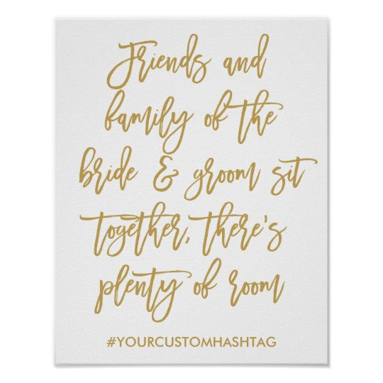 Chic Hand Lettered Gold Wedding Seating Sign