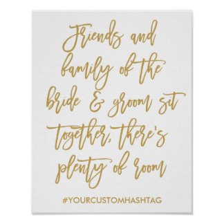 Chic Hand Lettered Gold Wedding Seating Sign Poster