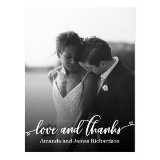Chic Hand Lettered HEARTS  Wedding THANK YOU Postcard
