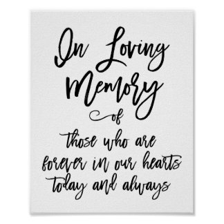 Chic Hand Lettered In Loving Memory Sign