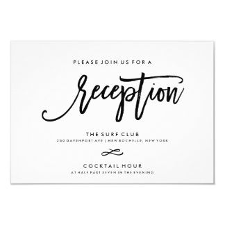 Chic Hand Lettered Reception Accommodations 2-Side 9 Cm X 13 Cm Invitation Card