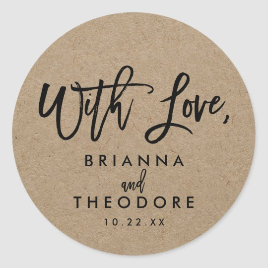 "Chic Hand Lettered Rustic ""With Love"" Favour Label"