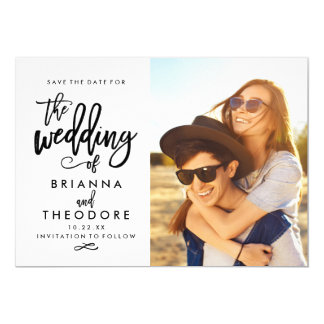 Chic Hand Lettered Save The Date Photo 13 Cm X 18 Cm Invitation Card