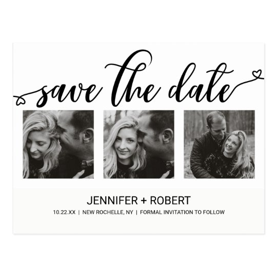 Chic Hand Lettered Save The Date Photo Collage