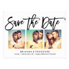 Chic Hand Lettered Save The Date Photo Collage Postcard