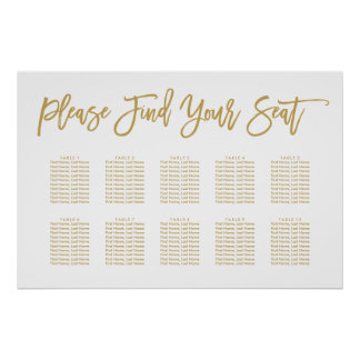 Chic Hand Lettered Seating Chart Gold