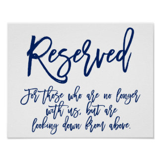 Chic Hand Lettered Sign | Reserved Memorial Poster