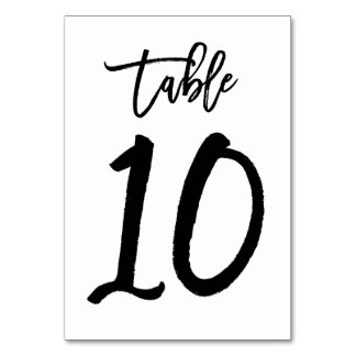 Chic Hand Lettered Table Number Card | Table 10 Table Cards