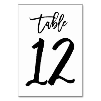 Chic Hand Lettered Table Number Card | Table 12 Table Cards