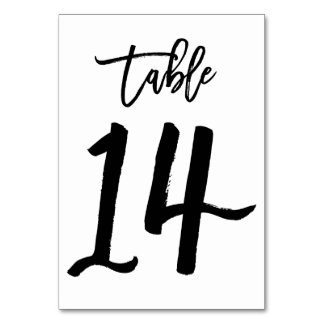 Chic Hand Lettered Table Number Card | Table 14 Table Card