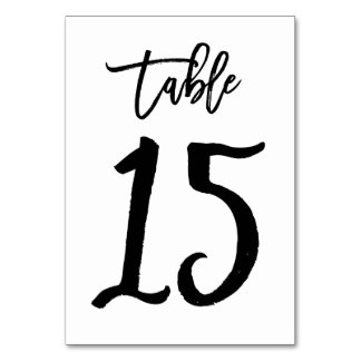 Chic Hand Lettered Table Number Card | Table 15 Table Cards