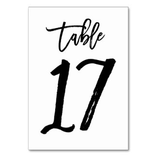 Chic Hand Lettered Table Number Card | Table 17 Table Cards