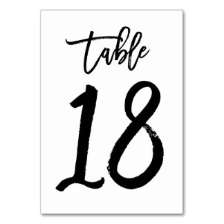 Chic Hand Lettered Table Number Card | Table 18 Table Cards