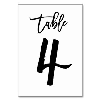 Chic Hand Lettered Table Number Card | Table 4 Table Card