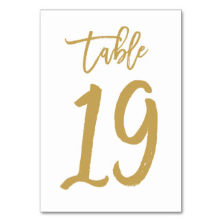 Chic Hand Lettered Table Number Gold | Table 19