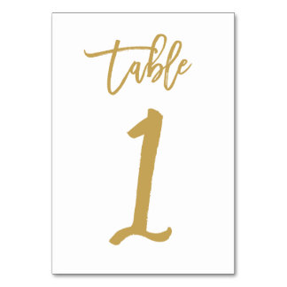 Chic Hand Lettered Table Number Gold  | Table 1 Table Card