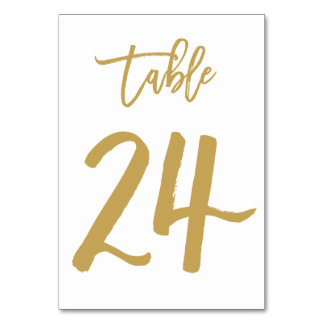 Chic Hand Lettered Table Number Gold | Table 24