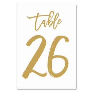 Chic Hand Lettered Table Number Gold | Table 26