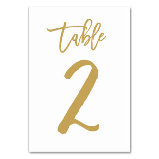Chic Hand Lettered Table Number Gold | Table 2 Table Card