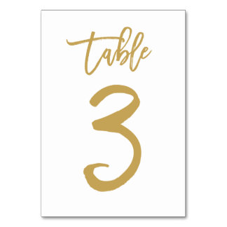 Chic Hand Lettered Table Number Gold | Table 3 Table Card
