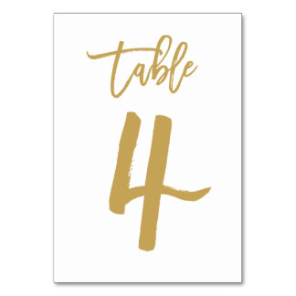 Chic Hand Lettered Table Number Gold | Table 4 Table Card