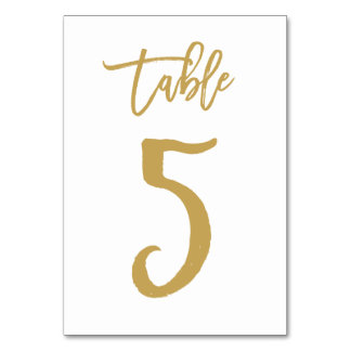 Chic Hand Lettered Table Number Gold | Table 5