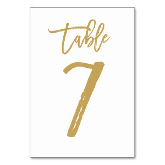 Chic Hand Lettered Table Number Gold | Table 7 Table Cards