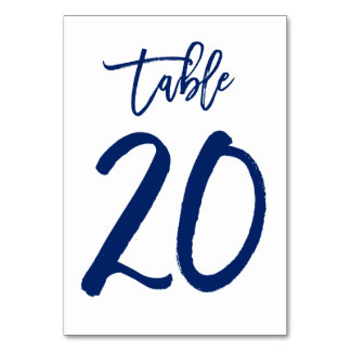 Chic Hand Lettered Table Number Navy | Table 20 Table Cards