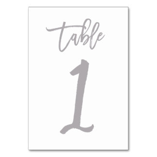 Chic Hand Lettered Table Number Silver | Table 1