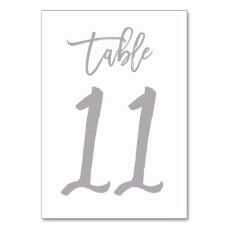 Chic Hand Lettered Table Number Silver   Table 11
