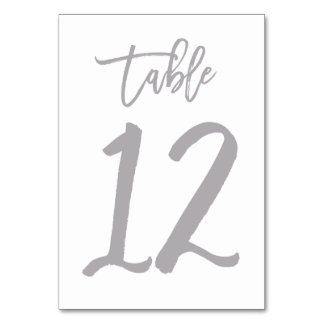 Chic Hand Lettered Table Number Silver   Table 12