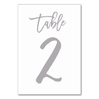 Chic Hand Lettered Table Number Silver | Table 2