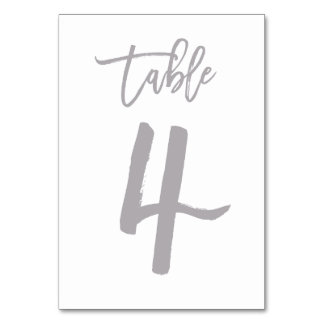 Chic Hand Lettered Table Number Silver | Table 4