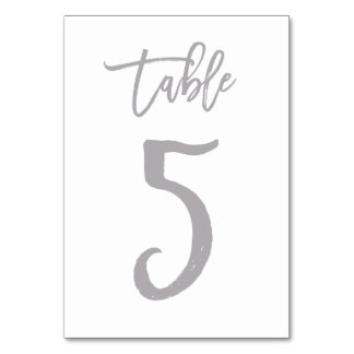 Chic Hand Lettered Table Number Silver | Table 5