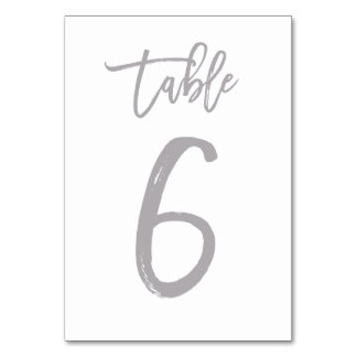 Chic Hand Lettered Table Number Silver | Table 6