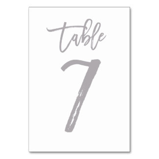 Chic Hand Lettered Table Number Silver | Table 7