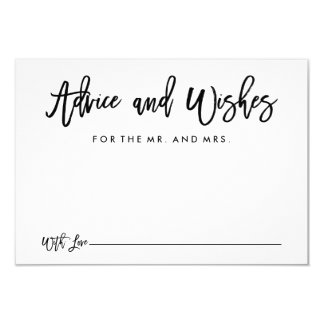 Chic Hand Lettered Wedding Advice and Wishes Card 9 Cm X 13 Cm Invitation Card