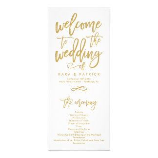 Chic Hand Lettered Wedding Ceremony Program 10 Cm X 24 Cm Invitation Card