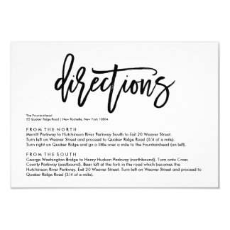 Chic Hand Lettered Wedding Directions Card 9 Cm X 13 Cm Invitation Card