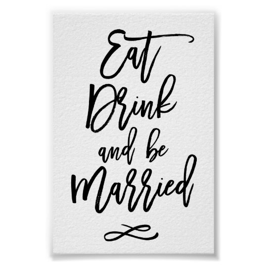 Chic Hand Lettered Wedding Eat Drink Be Married