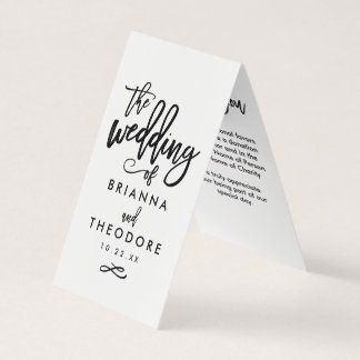 Chic Hand Lettered Wedding Favor Donation Cards