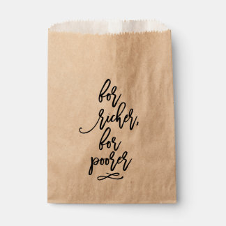 Chic Hand Lettered Wedding For Richer, For Poorer Favour Bags