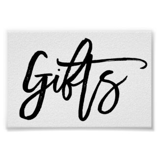 Chic Hand Lettered Wedding Gifts Sign