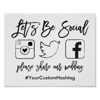 Chic Hand Lettered Wedding Hashtag Black Sign Poster